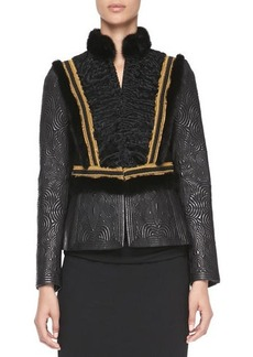 Etro Leather, Mink Fur & Lamb Jacket