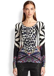 Etro Leopard-Detail Silk & Cashmere Sweater
