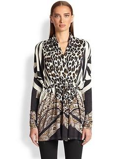 Etro Leopard Mixed-Print Cardigan