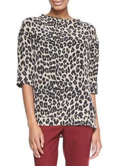 Etro Leopard-Print Elbow-Sleeve Top