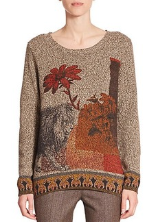Etro Lion-Print Wool & Cashmere Sweater