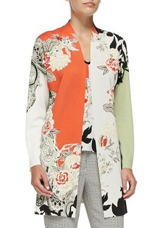 Etro Long Floral Colorblock Cardigan  Long Floral Colorblock Cardigan