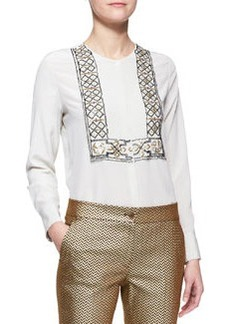 Etro Long-Sleeve 3D Beaded Bib-Front Blouse