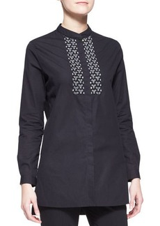 Etro Long-Sleeve Beaded-Placket Tunic Blouse