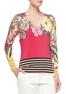 Etro Long-Sleeve Floral Top W/ Striped Hem
