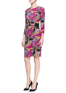 Etro Long-Sleeve Paisley Cady Dress, Pink