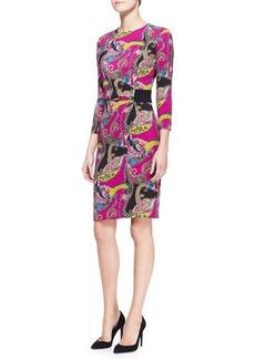 Etro Long-Sleeve Paisley Cady Dress, Pink