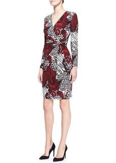Etro Long-Sleeve V-Neck Animal Paisley Dress, Red