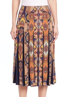 Etro Medallion Pleated Silk Skirt