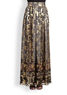 Etro Metallic Silk Maxi Skirt