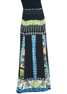 Etro Mixed Floral-Print Jersey Maxi Skirt, Black/Blue