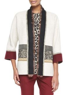 Etro Mixed Media Coat with Fur Trim, Ivory/Multi