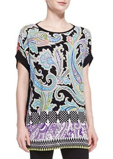 Etro Mixed-Print Short-Sleeve Poncho