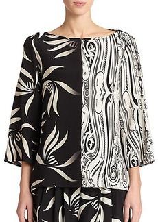 Etro Mixed-Print Silk Blouse