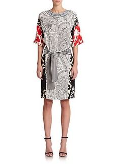 Etro Mixed-Print Silk Dolman Dress