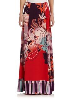 Etro Mixed-Print Silk Skirt
