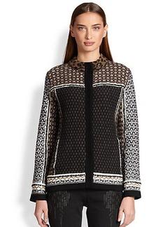 Etro Multi-Print Jacquard Leopard Sweater-Jacket