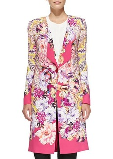 Etro One-Button Paisley & Floral Cardigan