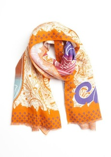 Etro orange and purple tidal printed linen scarf