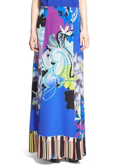 Etro Orchid Print Silk Crêpe de Chine Maxi Skirt