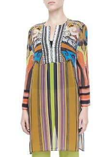 Etro Paisley & Striped Caftan, Multicolor