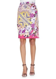 Etro Paisley Faux-Wrap Pencil Skirt