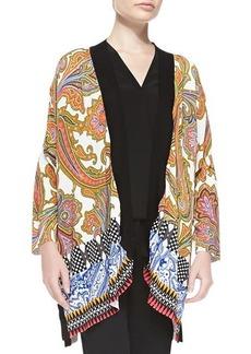 Etro Paisley-Front Geometric-Back Kimono Cardigan