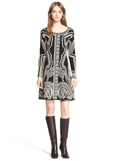 Etro Paisley Intarsia Knit Long Sleeve Dress