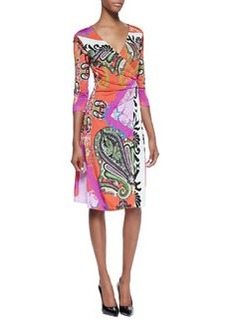 Etro Paisley Jersey 3/4-Sleeve Wrap Dress, Orange/Pink