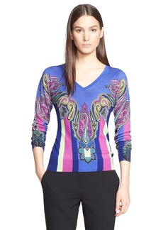 Etro Paisley Print Silk & Cashmere Sweater