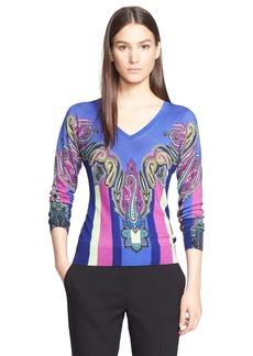 Etro Paisley Print Silk & Cashmere Sweater