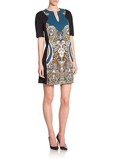 Etro Paisley-Print Split-Neck Jersey Tunic Dress