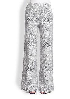 Etro Paisley-Print Wide-Leg Pants