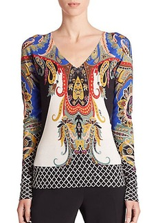 Etro Paisley Silk-Cashmere Sweater