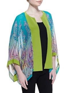 Etro Paisley Silk Chiffon Kimono Jacket, Turquoise/Green