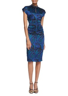 Etro Paisley Silk Dress with Ruched Waist