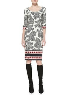 Etro Paisley Striped-Border Sheath Dress