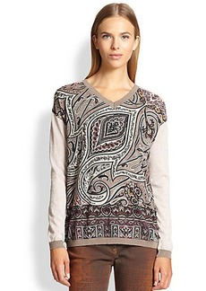 Etro Paisley V-Neck Sweater