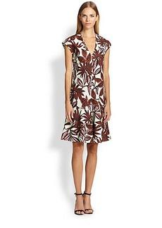 Etro Palm-Print Flounce Dress