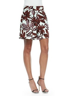 Etro Palm-Print Pleated Shorts, Mint/Rust