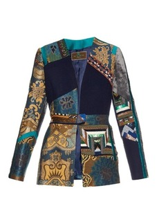Etro Patchwork embroidered-jacquard and velvet jacket