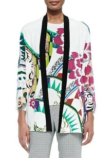 Etro Petal-Print Stretch-Silk Cardigan