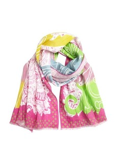 Etro pink and green tidal printed linen scarf