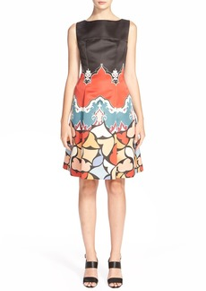 Etro Pop Print Fit & Flare Satin Dress