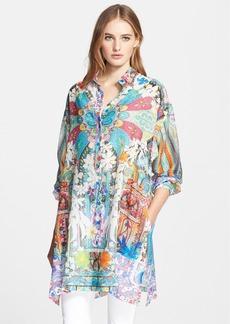 Etro Print Cotton & Silk Voile Oversize Blouse