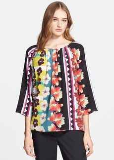 Etro Print Silk Peasant Top