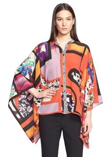 Etro Print Silk Poncho Top