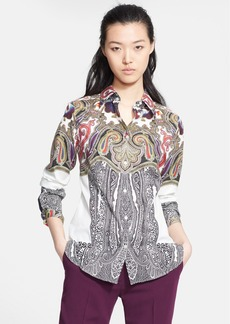 Etro Print Stretch Cotton Blouse