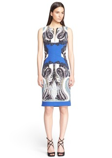 Etro Print Stretch Wool Cady Sheath Dress