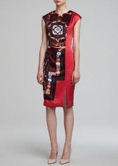 Etro Printed Charmeuse Keyhole Dress, Red